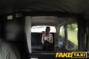 faketaxi red head with large natural milk shakes