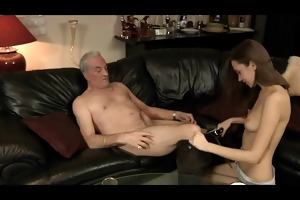 beautiful hotty acquires gangbanged by a old,