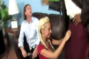 smutty blonde daugther blows the dark principal