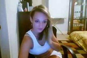 blond beauty chatting on livecam