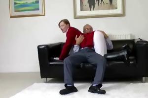 youthful british equestrian trains old man