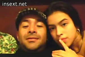 latin daddy daughter and a web camera