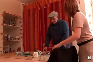 redhead floozy anal screwed in 3some with granddad