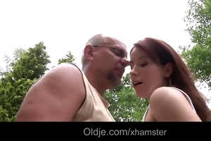 pervert old geezer copulates 22 young redhead