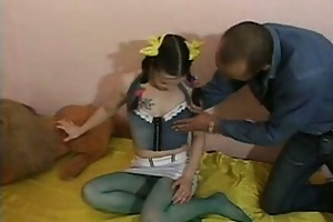 pigtailed euro legal age teenager in nylons