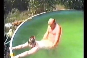 older man copulates in the pool