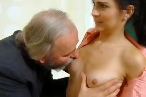 cute schoolgirl drilled by her tricky old teacher