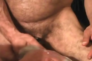 large unshaved dad fucking raw in bear 3some