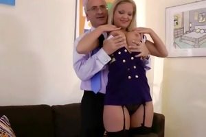 sexy golden-haired hottie with mouthful of cock