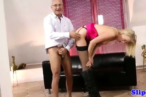 chic blond drilled by old fellow