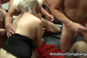 mature males play with younger blondes