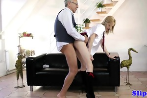 golden-haired schoolgirl sweet his old nob