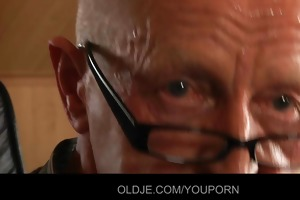 lascivious old bone sucked by top youthful blond