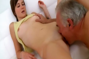 old lad needs to play with a cute youthful love