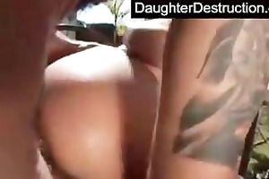 cute daughter fucked into ass hard