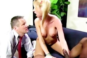 kaylee rides dark cock in front of dad