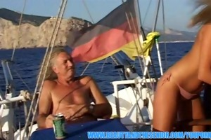 breathtaking golden-haired screwed on a boat