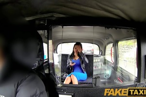 faketaxi brunette hair with large pantoons